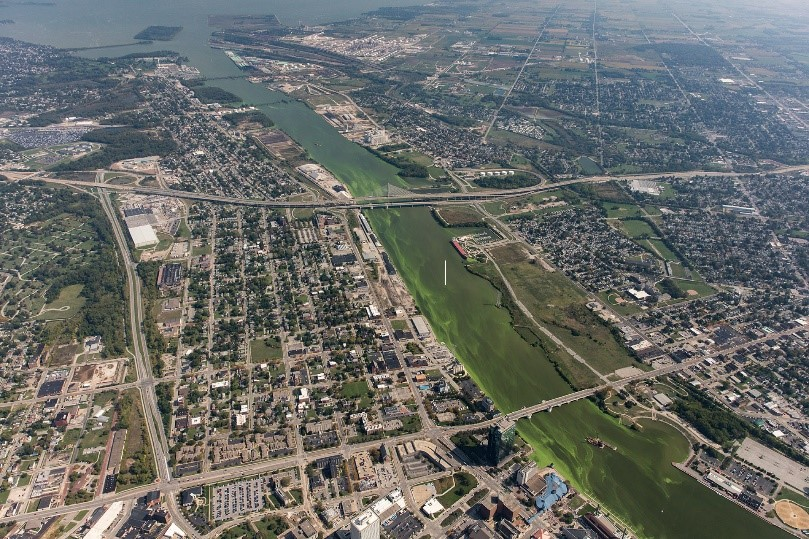 Aerial view of the bloom on the Maumee River, going through Toledo. Credit: NOAA